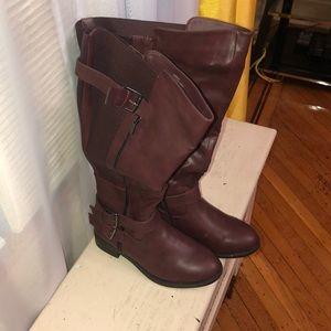 Torrid Burgundy Knee High Boots